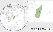 Savanna Style Location Map of Madagascar, blank outside