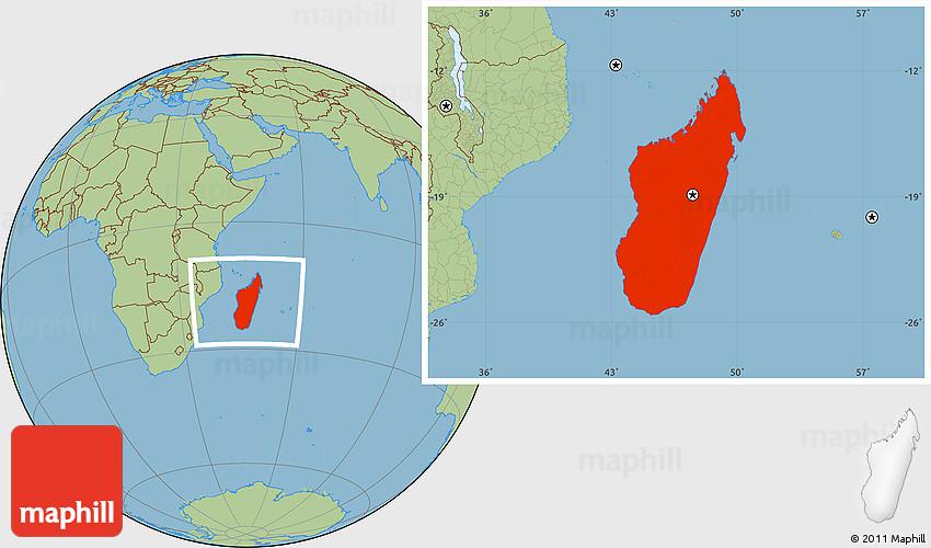 Savanna Style Location Map of Madagascar