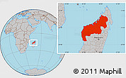 Gray Location Map of Mahajanga