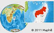 Physical Location Map of Mahajanga, highlighted country