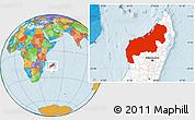 Political Location Map of Mahajanga, highlighted country