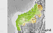 Physical Map of Mahajanga, desaturated