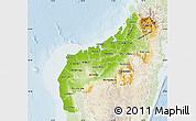Physical Map of Mahajanga, lighten