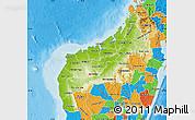 Physical Map of Mahajanga, political outside
