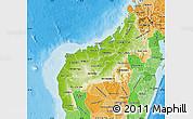 Physical Map of Mahajanga, political shades outside