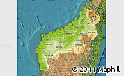 Physical Map of Mahajanga, satellite outside