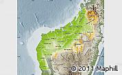 Physical Map of Mahajanga, semi-desaturated