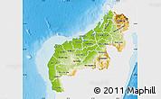 Physical Map of Mahajanga, single color outside