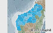 Political Shades Map of Mahajanga, semi-desaturated
