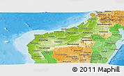 Physical Panoramic Map of Mahajanga, political shades outside