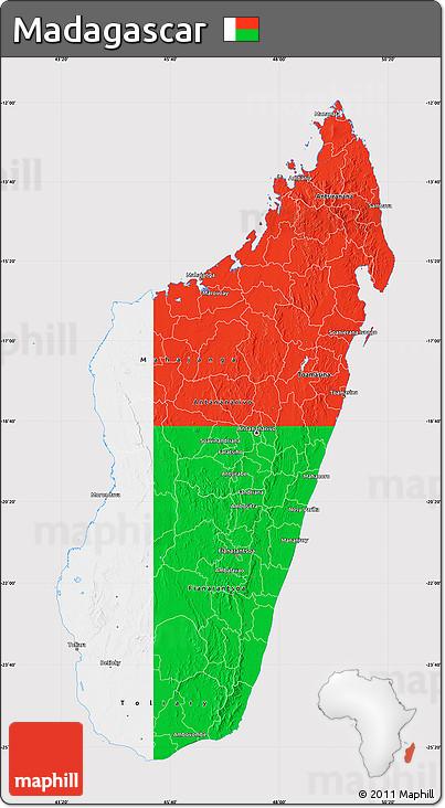 Flag Map of Madagascar