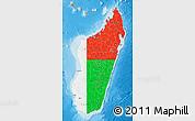 Flag Map of Madagascar, physical outside
