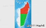 Flag Map of Madagascar, political shades outside