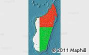 Flag Map of Madagascar, satellite outside