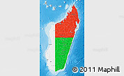 Flag Map of Madagascar, shaded relief outside