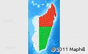 Flag Map of Madagascar, single color outside, bathymetry sea