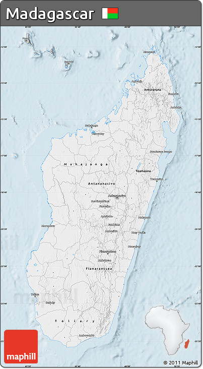 Gray Map of Madagascar