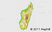 Physical Map of Madagascar, cropped outside