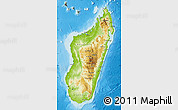 Physical Map of Madagascar, darken, land only