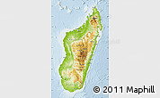 Physical Map of Madagascar, lighten