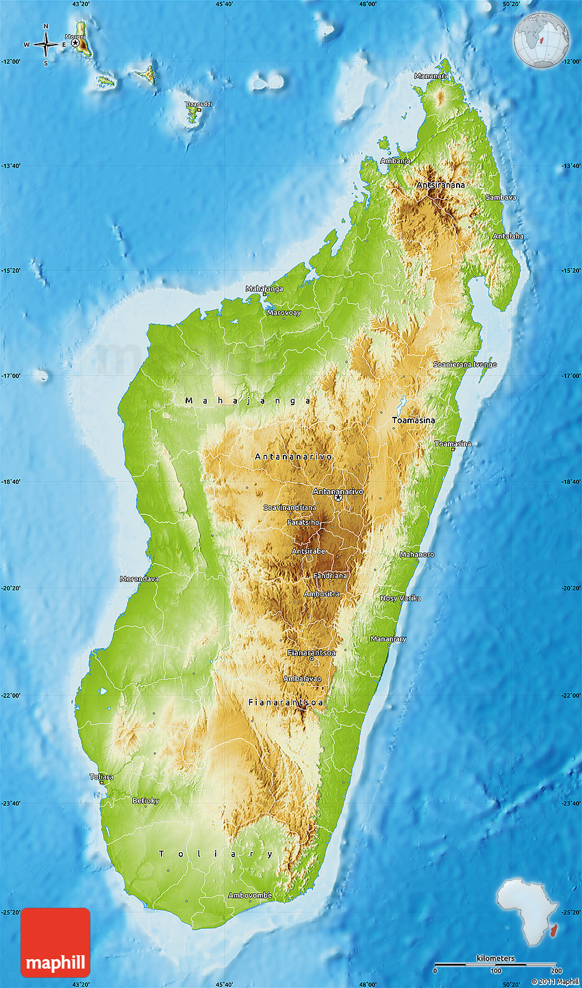 Physical Map Of Madagascar - Madagascar map outline