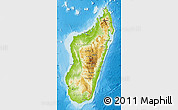 Physical Map of Madagascar, single color outside