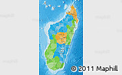 Political Map of Madagascar, shaded relief outside, bathymetry sea