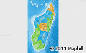 Political Map of Madagascar, single color outside