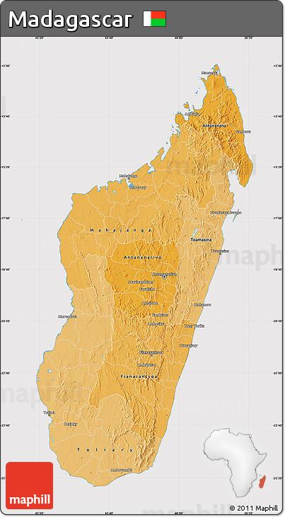 Political Shades Map of Madagascar, cropped outside