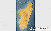 Political Shades Map of Madagascar, darken, semi-desaturated