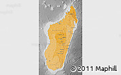 Political Shades Map of Madagascar, desaturated