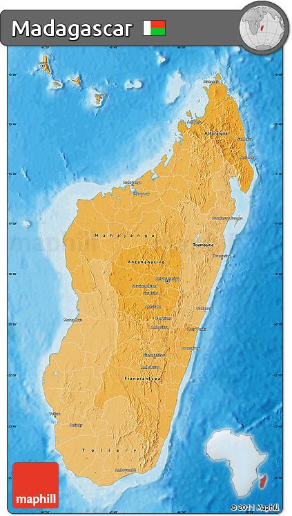 Political Shades Map of Madagascar