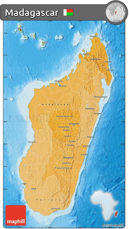 Political Shades Map of Madagascar, physical outside