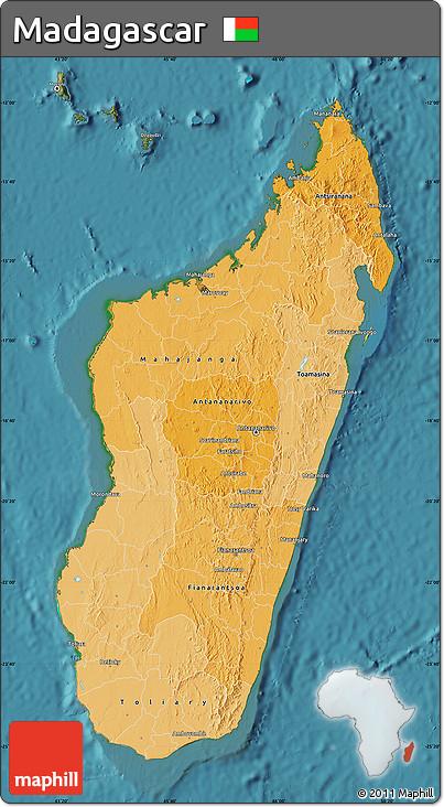 Political Shades Map of Madagascar, satellite outside