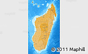 Political Shades Map of Madagascar, semi-desaturated, land only