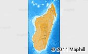 Political Shades Map of Madagascar, single color outside, bathymetry sea
