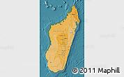 Political Shades Map of Madagascar, single color outside, satellite sea