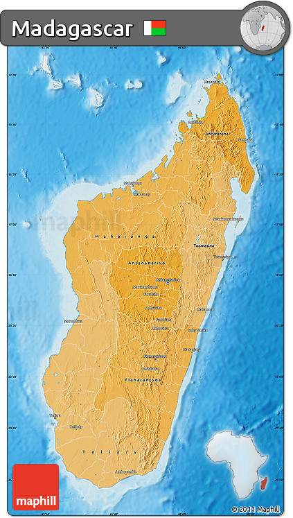 Political Shades Map of Madagascar, single color outside, shaded relief sea