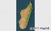 Satellite Map of Madagascar, darken