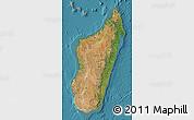 Satellite Map of Madagascar, political shades outside, satellite sea