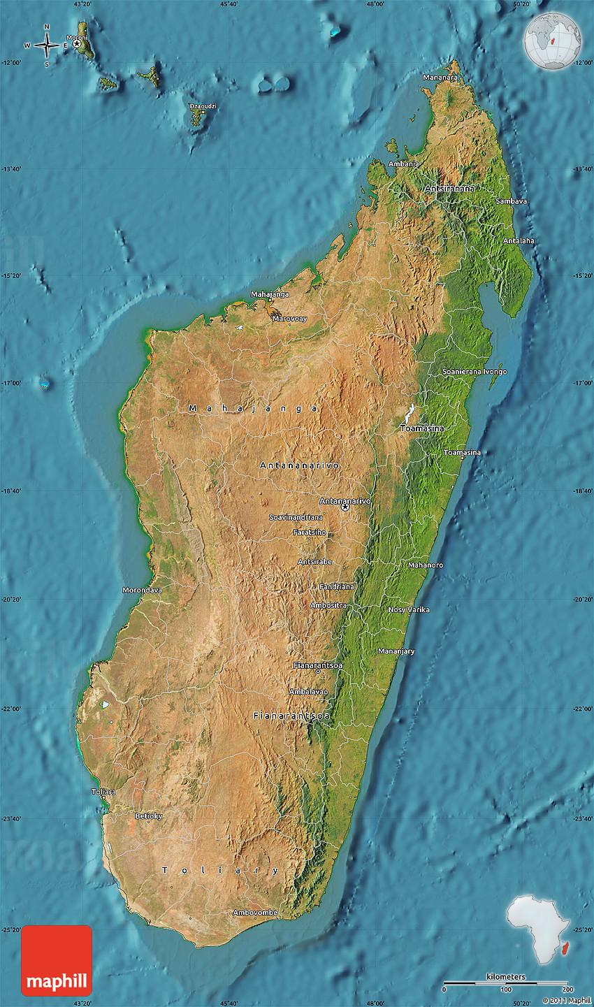 Topographic Map Of Madagascar.Satellite Map Of Madagascar