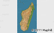 Satellite Map of Madagascar, semi-desaturated, land only