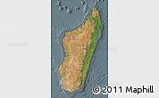 Satellite Map of Madagascar, semi-desaturated