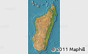 Satellite Map of Madagascar, shaded relief outside, satellite sea