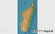 Satellite Map of Madagascar, single color outside