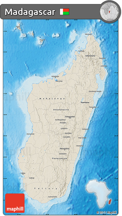 Shaded Relief Map of Madagascar