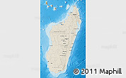 Shaded Relief Map of Madagascar, political outside, shaded relief sea