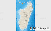 Shaded Relief Map of Madagascar, political shades outside, shaded relief sea