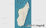 Shaded Relief Map of Madagascar, satellite outside