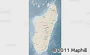 Shaded Relief Map of Madagascar, semi-desaturated